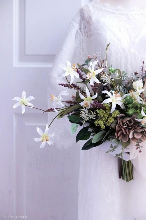【 オーダーメイド・Dタイプ 】クラッチブーケ ・オーバル 。アーティフィシャルフラワー造花のウェディングブーケ