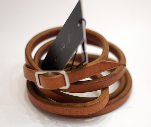 OILED COW LEATHER 5 WRAP NARROW BRACELET CAMEL