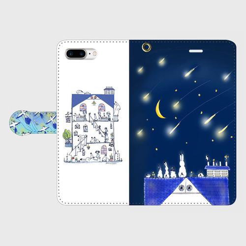 iPhone7Plus 星の花降る夜 手帳型スマホケース
