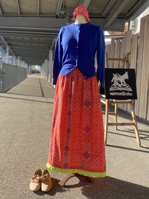 タイ刺繍プリントとジョーゼットのひだ飾りスカート_Pink_by Mariko
