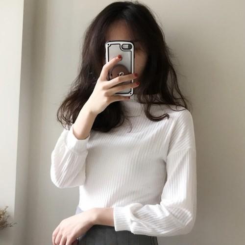【トップス】シンプルカジュアルラウンドネックランタンスリーブニットTシャツ