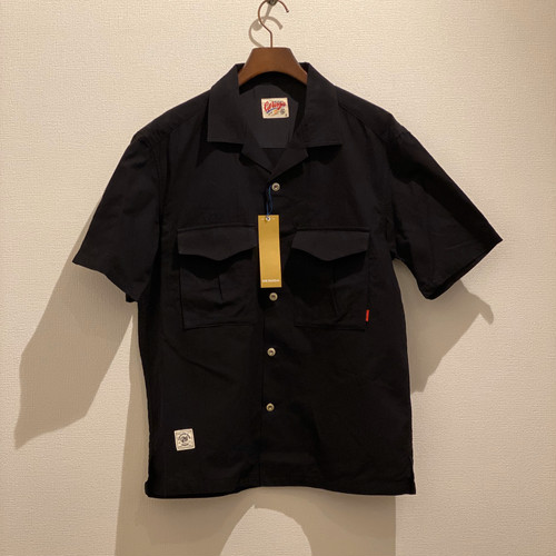 OPEN COLLAR SHIRTS <JAPANESE PAPER VIERA> (BLACK) / GERUGA