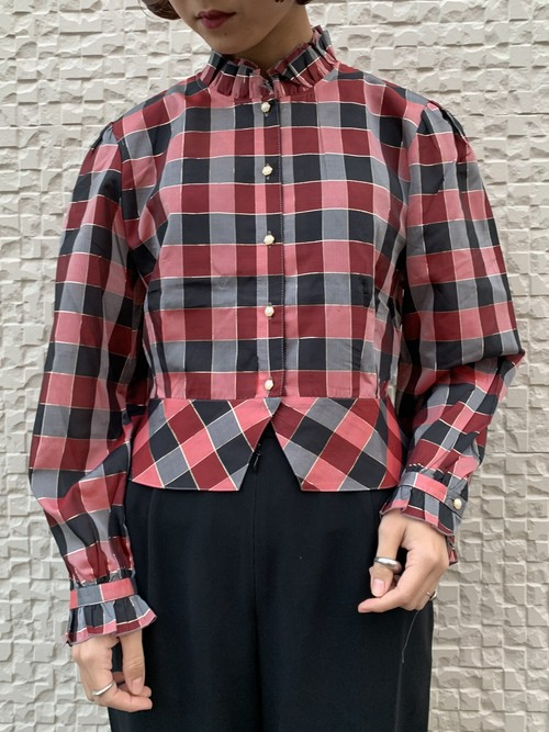 (TOYO) stand frill collar check pattern blouse