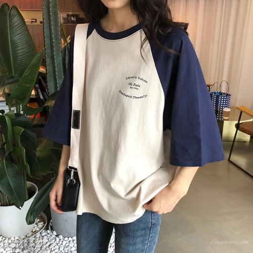 【トップス】スウィート清新学園風切り替え配色ゆったりラウンドネック半袖Tシャツ