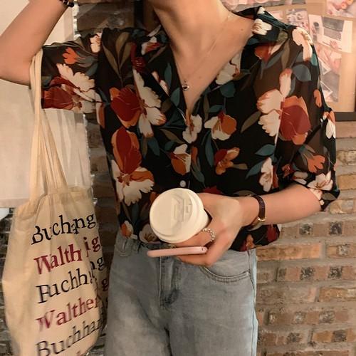 オシャレ 夏 人気 折り襟 半袖 プリント柄 ハナ レトロ シャツ・トップス