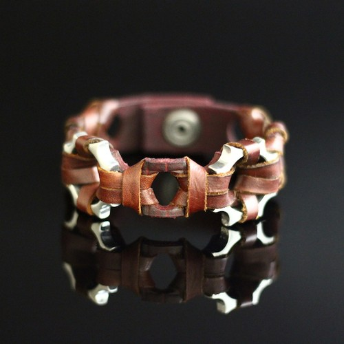 Studded Signet Leather Cuff