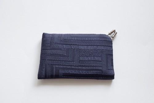 フィルタンゴ  カードケース ネイビー 京都 丹後の絹織物 レトロモダンな幾何柄