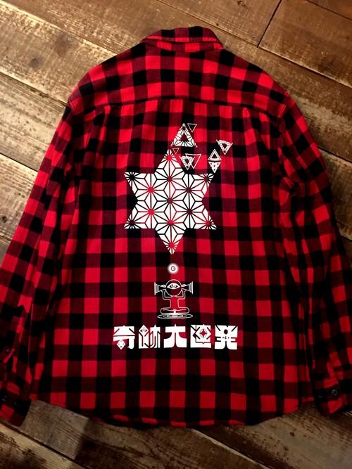 『奇跡大連発』ネルシャツ  赤 size L 1点物