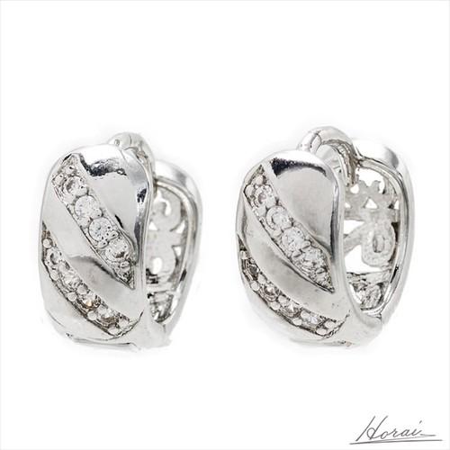 【即納】 フープ ピアス 銀 メッキ スタイリッシュ デザイン ラインストーン 斜め 結婚式 お呼ばれ