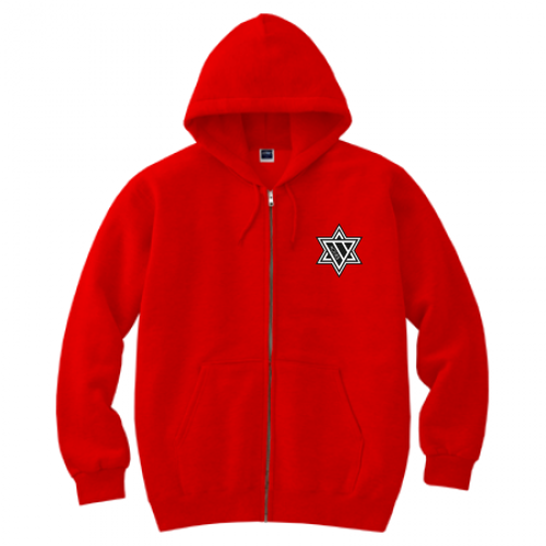 ERICH / HEXAGRAM FULL ZIP HOODED SWEATSHIRT RED