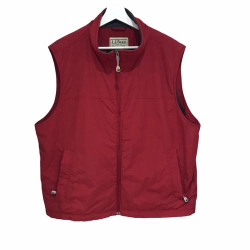 L.L.BEAN Nylon sheld Fleece vest Red XL