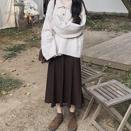 ブラウンプリーツニットスカート ZU5102