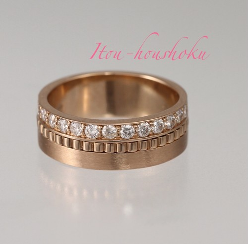 結婚指輪にも!幅広ピンクゴールドリング!