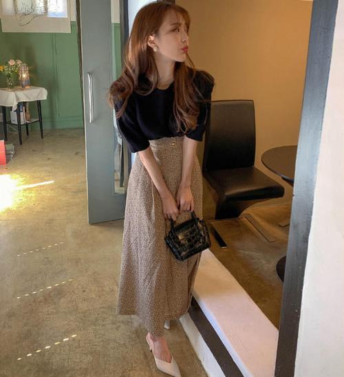 セットアップ サマーニット トップス フレアスカート 花柄 ロング ハイウエスト きれいめ 上品 レトロ 大人可愛い 韓国 オルチャン ファッション