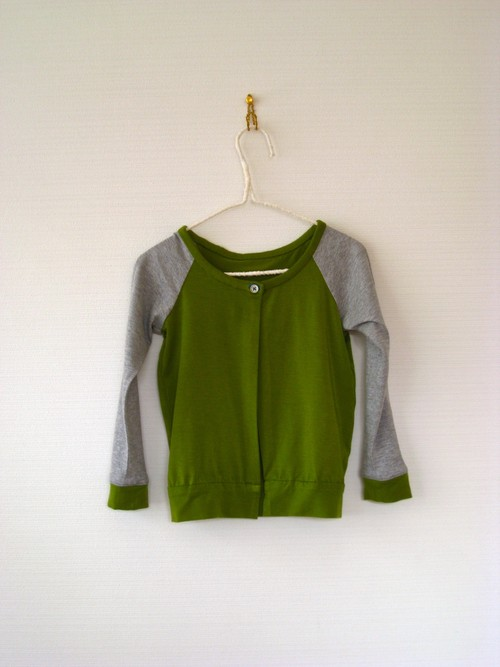 Kids Unsex  /  Cardigan  ( col.green×gray / kc-1mgg )