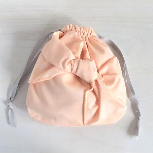 シャーベットカラー 結び目リボン巾着 オレンジ