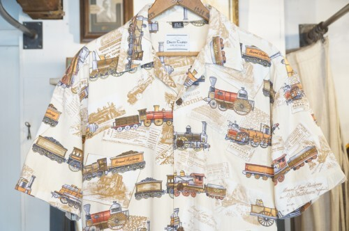90's DAVID CAREY railway-print cotton × rayon s/s Shirt