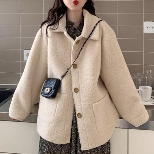 【アウター】ルーズ気質アップ単列ボタン合わせやすいコート