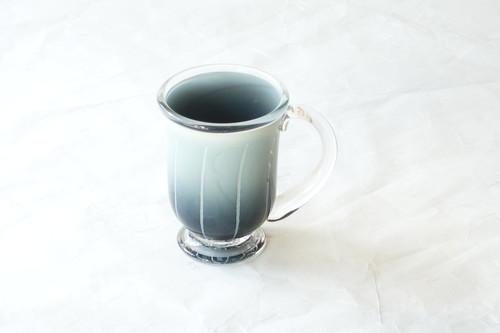 手づくり 耐熱ガラス マグカップ グリーン ストライプ