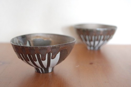黒金×白 茶碗
