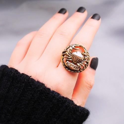 12星座 蟹座(キャンサー) 70s ヴィンテージリング(指輪)フリーサイズ Vintage ring Zodiac