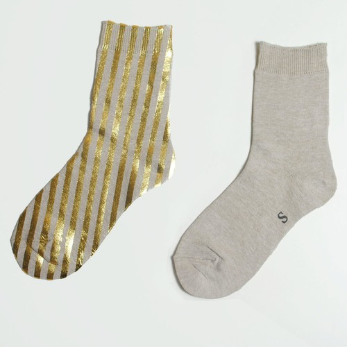 METAL SOX (STRIPE) MIX BEIGE X GOLD