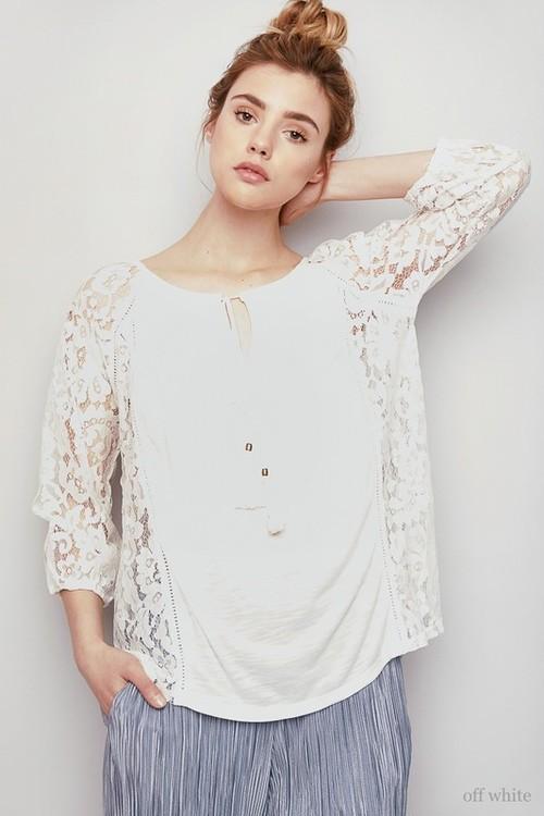 Ladys Lace Sleeve Tops(LA  Brand)