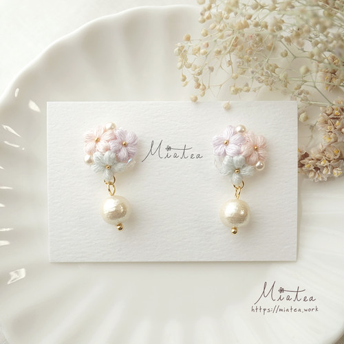 三つ花のブーケ「春色パステル〜花摘み〜」/ピアス・イヤリング
