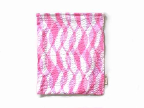 ハリネズミ用寝袋 L(夏用) 綿リップル×スムースニット 波柄 ピンク