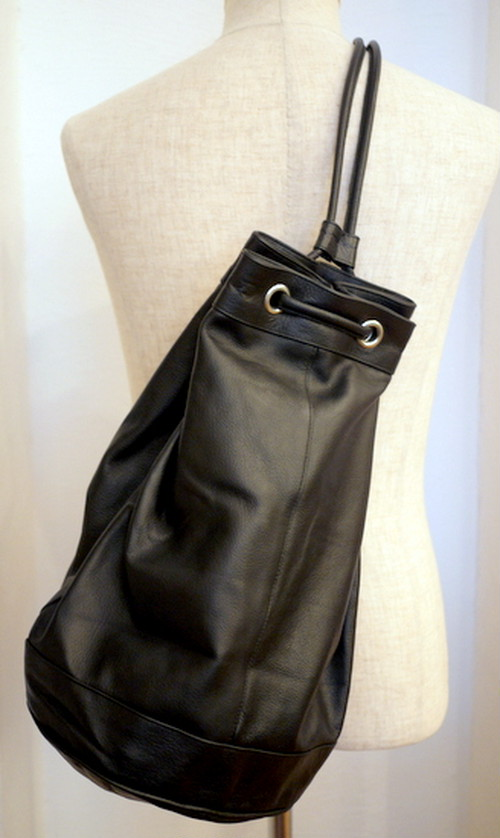 Cow Leather Duffle Bag BLACK