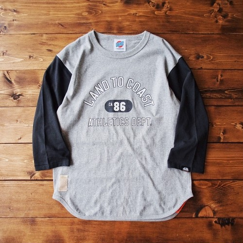 "【DARGO】""LAND TO COAST"" 3/4 BASE BALL T-shirt (HEATHER GRAY × SUMIKURO)"