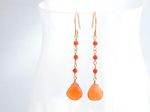 14KGF Carnelian Drop Earrings