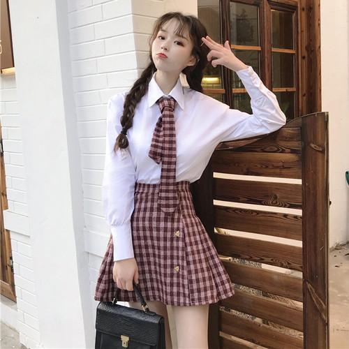 【セットアップ】春服新作気質よい日系学園風シャツ+チェック柄ハイウエスト2点セット