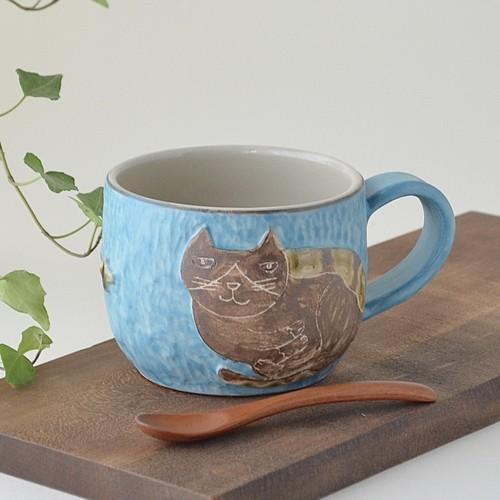 【直販限定1個】ハチワレネコの手彫りレリーフマグカップ (トルコブルー)