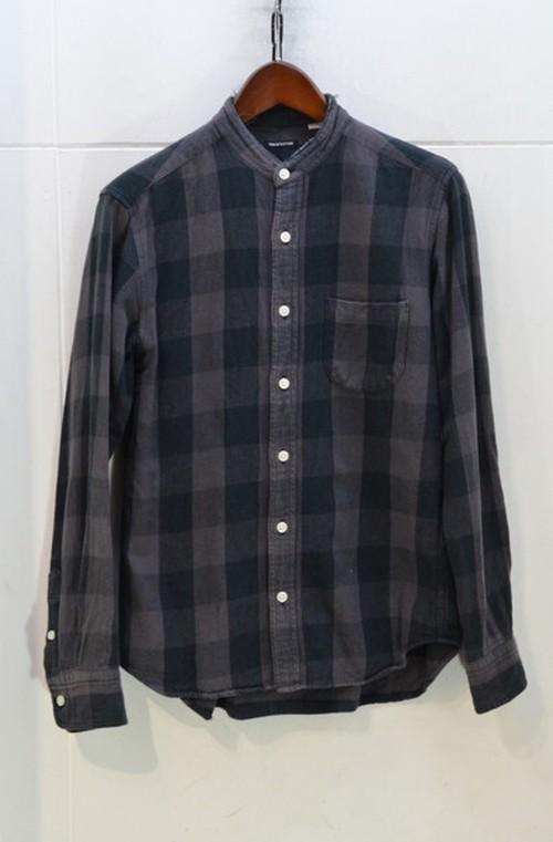 FREAK'S STORE ノーカラーチェックシャツ
