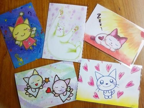 猫ポストカードセット(にゃんこ天使ほか)送料込