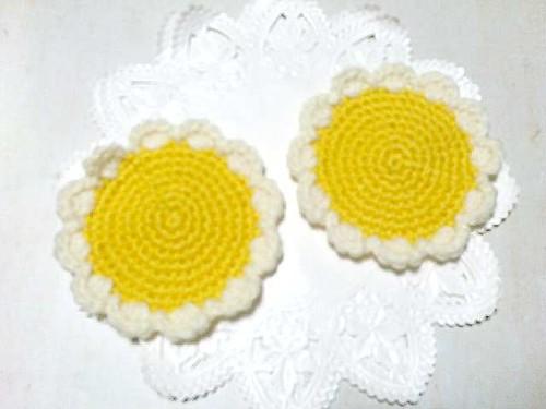 お花のコースター 2枚セット アクリル100%