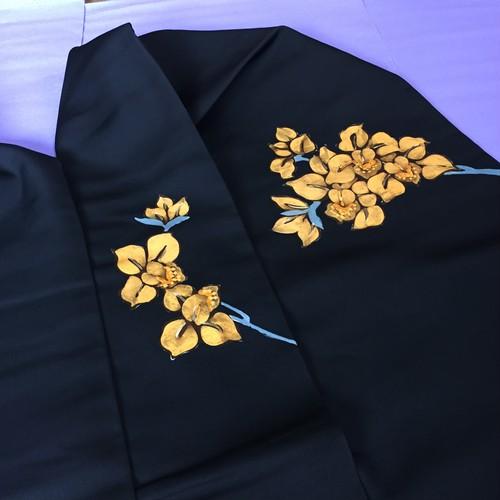 塩瀬 黄色い枝花模様の名古屋帯(手描き)