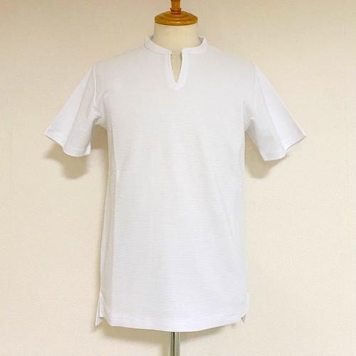 Shiny Ripple Key Neck T-shirts White