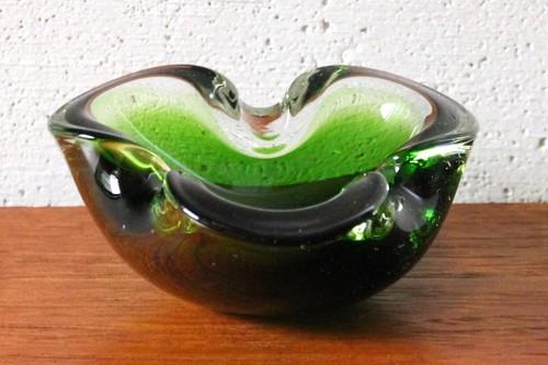 60年代~70年代 イタリア・ムラーノ ベネチアン・グラス アッシュトレイ 小物入れ グリーン×クリア