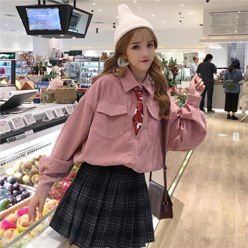 【トップス】日系学園風折り襟キュートスエード生地シャツ