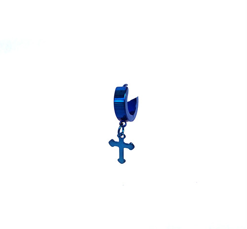クロス 十字架 スナップリング フープ ピアス ブルー 青 26