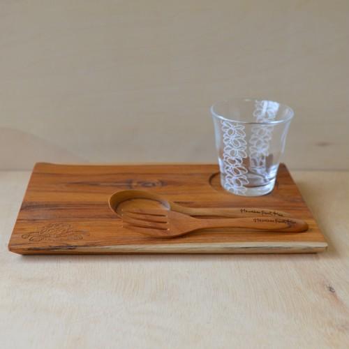 Hawaiianpaint KAN Gift L set (Wood plate L / Wood spoon&fork / Glass)