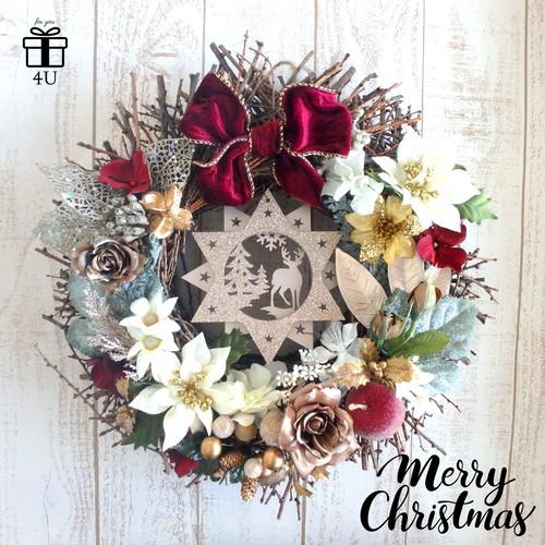 【クリスマス2018】Merry Christmas✳︎直径40cm!!の特大リース♡シックカラー 大人かわいい豪華なクリスマスフラワーウッドリース クリスマスリース
