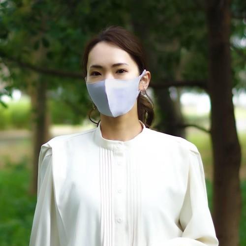 3層シルクマスク ギャザータイプ /カラー:シルバー【bionatural】
