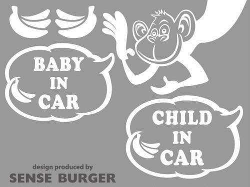BABY IN CAR CHILD IN CAR ステッカー シール デカール 猿 サル モンキー バナナ ドライブサイン 子供 赤ちゃん ブラック 白【sti01821whi】