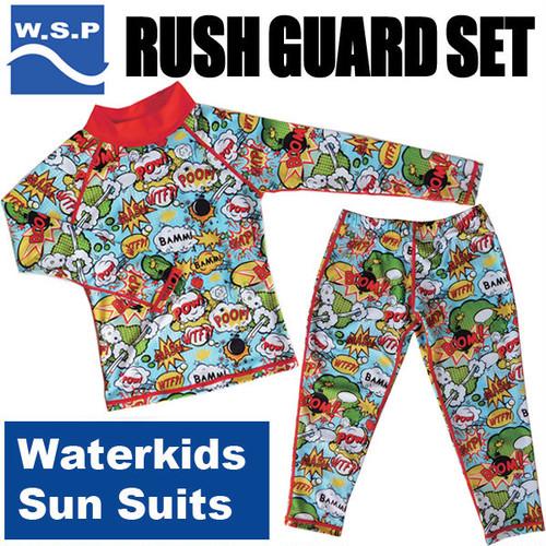 WSP 子ども用 ラッシュガード上下セット レッド ウォーターキッズ・サンスーツ