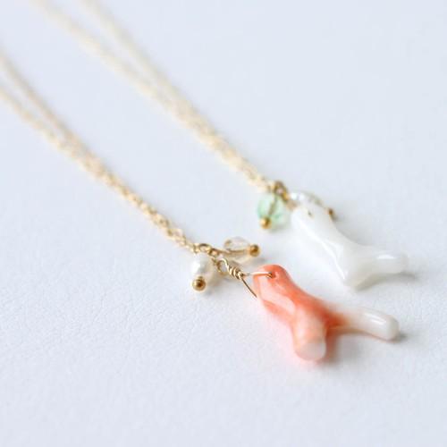 【CORALIA】ビーチ003 白珊瑚 ピンク珊瑚 枝タイプ ネックレス
