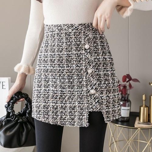 2色/サイドボタンツイードスカート ・13294