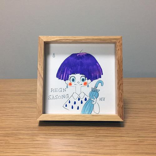 額入りイラスト 015(梅雨)